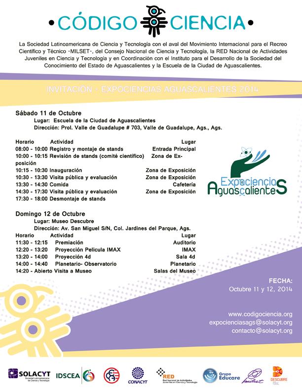 Invitacion Expociencias Aguascalientes